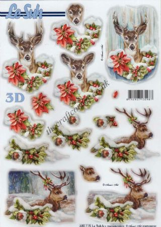 Deer At Christmas Die Cut 3d Decoupage Sheet